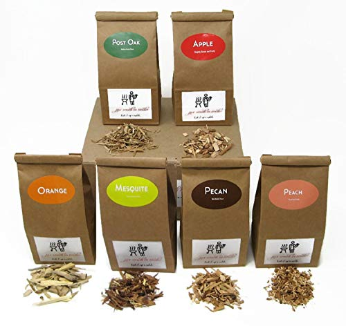 Jax Smokin Tinder  FINE Wood Chips Sampler Pack for STOVETOP Smokers 6 of Our Popular Chips in OnePint Paper Bags Apple/Post Oak/Mesquite/Orange/Peach/Pecan