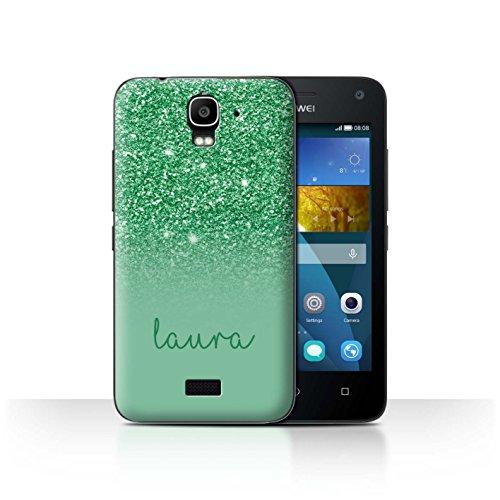 Personalisiert Hülle Für Huawei Y3/Y360 Persönlich Glitter Effekt Grün Design Transparent Ultra Dünn Klar Hart Schutz Handyhülle Hülle