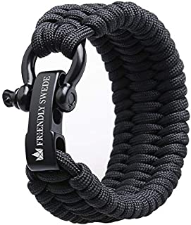 """The Friendly Swede Trilobite Extra Beefy 550 lb Paracord Survival Bracelet with Stainless Steel Black Bow Shackle, Available in 3 Adjustable Sizes (Black, fits 7""""-8"""" Wrists)"""