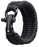 "The Friendly Swede Trilobite Extra Beefy 550 lb Paracord Survival Bracelet with Stainless Steel Black Bow Shackle, Available in 3 Adjustable Sizes (Black, fits 7""-8"" Wrists)"