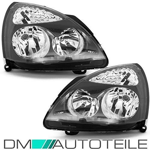 DM Autoteile Clio II 01-05 Scheinwerfer Set (Links/Rechts) Klarglas schwarz für LWR