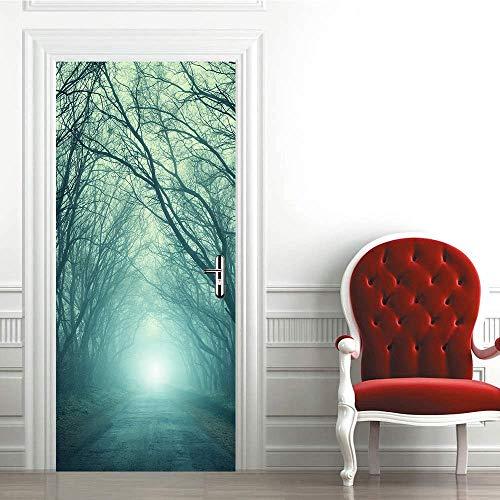 REXZIUI Camino en el bosque Etiqueta de la puerta pvc impermeable autoadhesivo 3D creativo 86*200cm - papel de aluminio para puerta póster papel tapiz calcomanías de pared