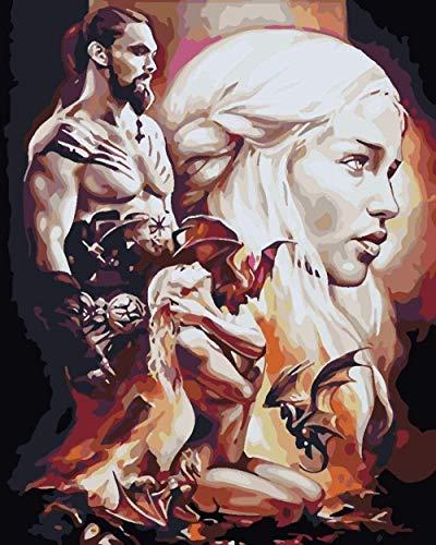 DJHYT Peinture par Numéro numérique Peinture par Beauty Man Drag Animal Lscape-Wood Frame-(40x50cm)
