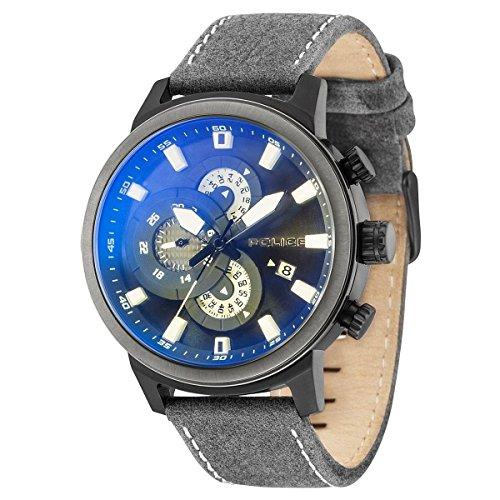 Police Herren Multi Zifferblatt Quarz Uhr mit Leder Armband PL15037JSBU.02