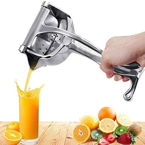 WOMIKOL Stainless Steel Manual Fruit Juicer Hand Juicer ,Instant Veritable & Fruit Juicer Hand Press Juice Machine For Home  Silver 