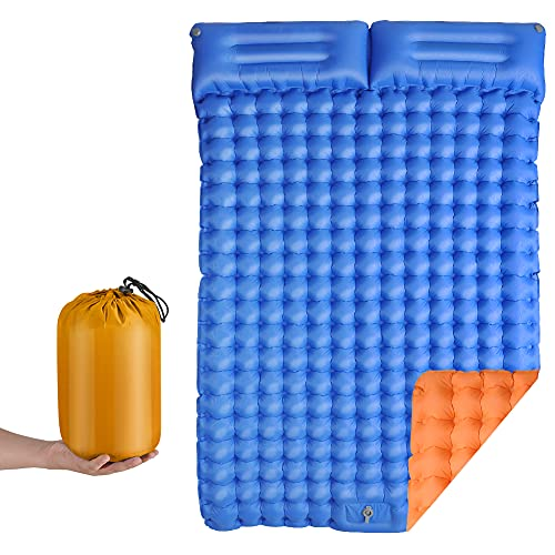 Inflatable Sleeping Pad for Camping, CMCQ Double Camping Sleeping Mat 2 Person with 2 Pillows Waterproof Lightweight Thick Air Mattress Foot Press for Backpacking Tent Traveling Hiking (2 Person)
