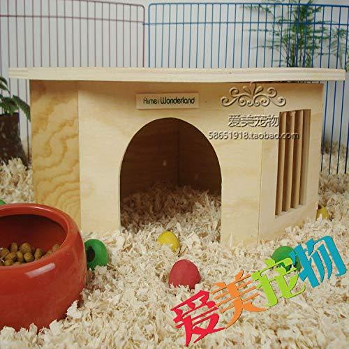 Willlly Hedgehog House Wood with Windows Winter Quarters Station d'alimentation pour hamster Igelhütte Hamster Résistant aux intempéries Petite maison en plein air
