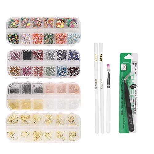 Kit de 8 Lapiceras de Punteo de Uñas con Cuentas de Diamantes de Imitación Pinceles Pinzas Herramienta de Punteo de Uñas Bolígrafo de Gel UV para Principiantes