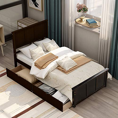 Solid Pine Wood Platform Bed Frame for Kids Teens & Adults, Simple Assembly Wood Slat Support No Box Spring Needed, Captains Bed for Bedroom (Espresso, Twin with 2 Drawers)