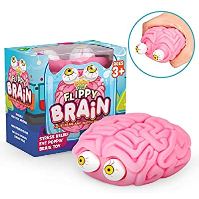 Flippy Brain Squishy Eye Popping Squeeze Fidget - Stress Relief Ball - Anxiety Reducer Sensory Play - Gag Stocking Stuffers - Gift For Boys and Girls - Suitable For Autism, ADHD | Fun Halloween Toy
