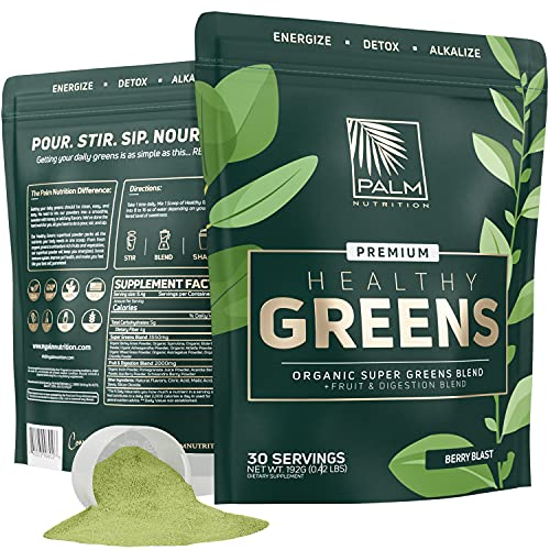 Healthy Greens Organic Superfood Powder - Premium Super Greens Blend with Ashwagandha, Spirulina, and Antioxidants | Energize, Detox and Alkalize with Healthy Greens Drink (Berry Blast) I 30 Servings