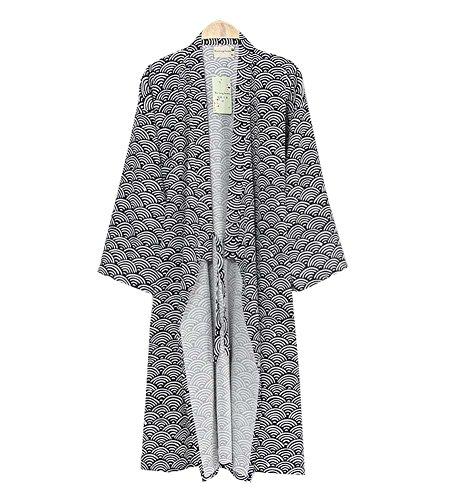DRAGON SONIC Conjunto de Kimono de Color sólido para Hombres con Bolsillo y pantalón de Pijama, A8
