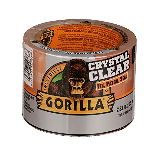 """Gorilla Crystal Clear Duct Tape Tough & Wide, 2.83"""" x 15 yd (Pack of 1),101277"""