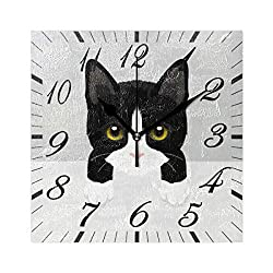 Pfrewn Cute Kitty Cat Dog Wall Clock Silent Non Ticking Winter Animal Puppy Clocks Battery Operated Vintage Square Desk Clock 8 Inch Quartz Analog Quiet Bedroom Living Room Home Decor