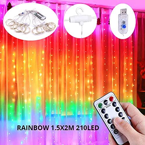 XKMY Guirnalda de luces LED para jardín, 3 m, con arco iris, guirnalda de luces LED para decoración de Navidad, dormitorio, pared, boda, ventana (color emisor: arco iris, 1,5 x 2 m)
