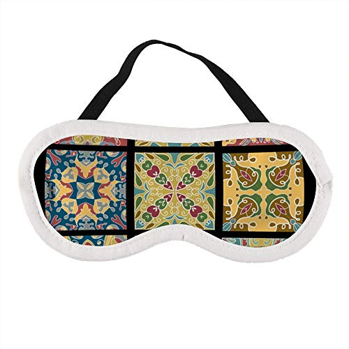 Tragbare Augenmaske für Männer und Frauen, Keramikfliesen für marokkanisches Vintage-Weinrot, die beste Schlafmaske für Reisen, Nickerchen, gibt Ihnen die beste Schlafumgebung