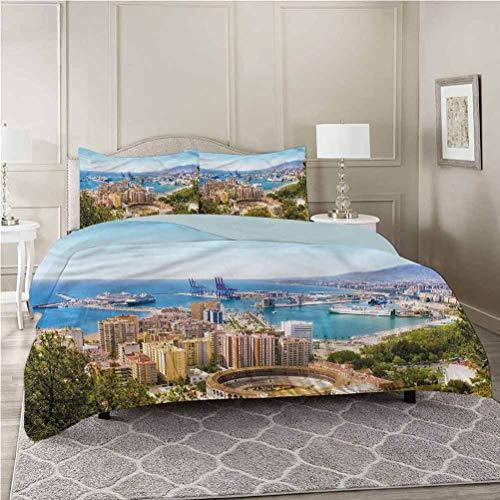 Aishare Store Juego de funda de edredón y 2 fundas de almohada, paisaje, vista aérea de Málaga, California King Size suave y ligera, microfibra