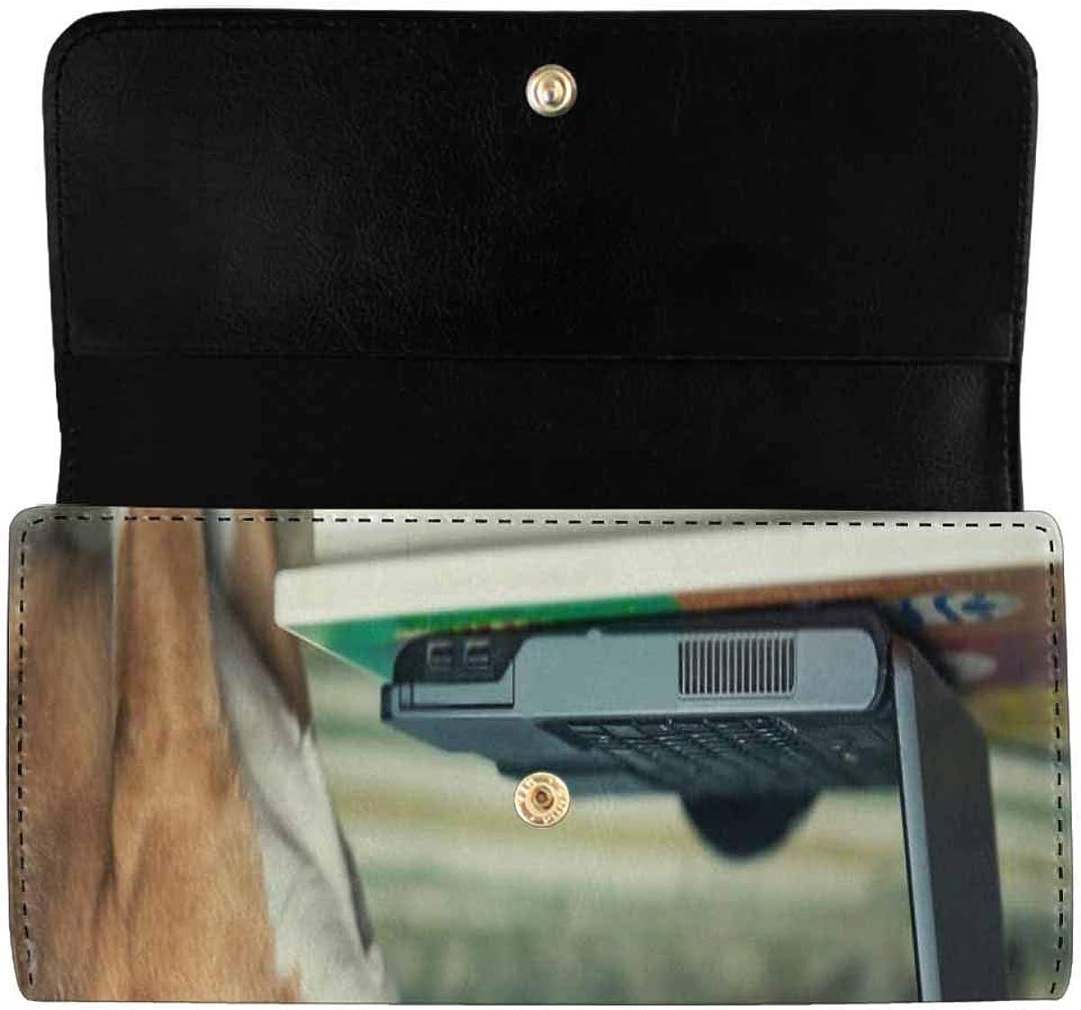 INTERESTPRINT Women's Trifold Long Clutch Card Holder Sleepy Beagle Dog PU Leather Purses Wallet
