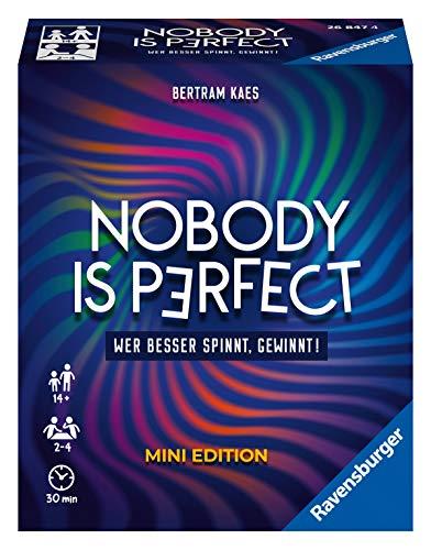 Ravensburger 26847 - Nobody is perfect Mini Edition - Kommunikatives Kartenspiel für die ganze Familie, Spiel für Erwachsene und Jugendliche ab 14 Jahren, für 2-4 Spieler