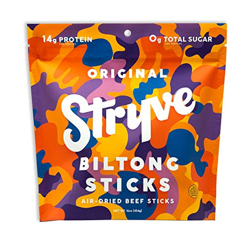 Stryve Mini Snack Beef Sticks. 14g Protein, Sugar Free, No Carbs, Gluten Free, No Nitrates, No MSG, No Preservatives. Keto and Paleo Friendly. Original, 16oz