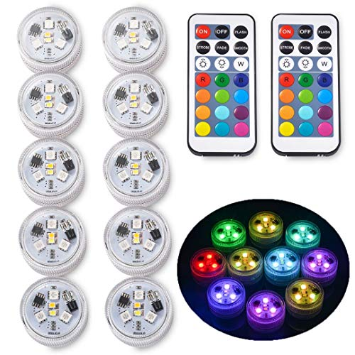 Underwater Led Lights with Remote, Waterproof Multi Color Submersible Led Lights Battery Operated Pool Lights for Halloween Christmas Party-10 Pack