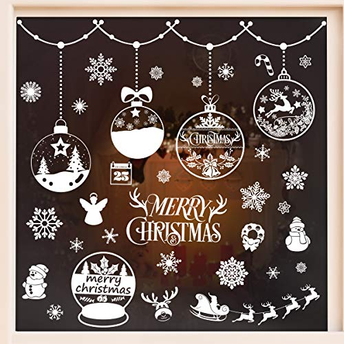 VOSAREA Adesivi per finestre di Natale Adesivi per finestre in PVC da 6 Fogli Decalcomanie in Vetro Senza Colla Decorazioni per mobili da Camera da Letto del Soggiorno