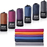 BOGI Microfiber Travel Sports Towel-(M:40''x20'')-Dry Fast Soft Lightweight Absorbent&Ultra Compact-Perfect for Camping Gym Beach Bath Yoga Backpacking Fitness +Gift Bag&Carabiner(M:Blue)