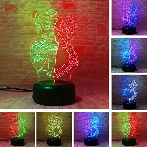 Figura de acción 3D de la Reina de la Nieve de la Princesa Elsa Anna, luz nocturna mixta, 7 colores cambiados de la lámpara USB táctil de la mesa de la decoración de los niños regalos
