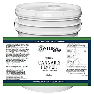 Hemp Oil Anti-Inflammatory_Pain Relief_100% Pure_Cold Pressed_High Vegan Omegas 3 & 6_No Fillers or Additives, Therapeutic Grade (640 Ounce (5 Gallon))