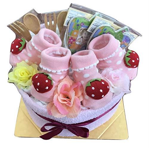 おむつケーキ 女の子 双子【苺】 出産祝い パンパース オムツケーキ 送料無料