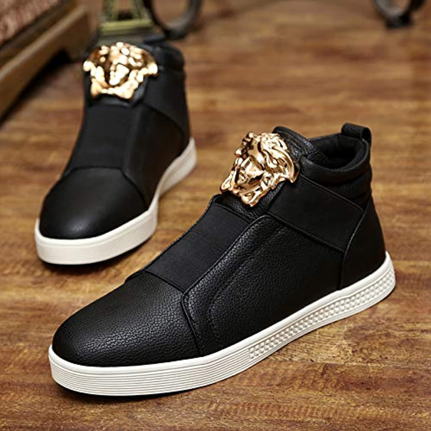 LOVDRAM Boots Men's Autumn And Winter Men'S Short Boots Youth shoes High Help Martin Boots High Junior High School Students White Casual Men'S shoes