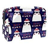 Bolsa de Maquillaje Pingüino de Dibujos Animados Lindo Bolsa Cosmetica Portátil Viaje de Maquillaje Organizador Bolsa de Almacenamiento de Maquillaje 18.5x7.5x13cm
