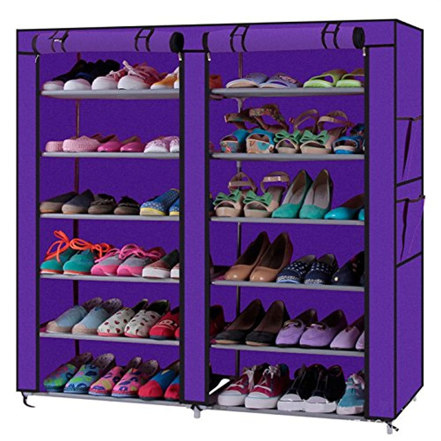 KepooMan Double Rows 12 Lattices Shoe Rack with Dustproof Cover Shoe Storage Organizer Cabinet Shoe Shelf Tower,Non-Woven Fabric Cover (Purple)