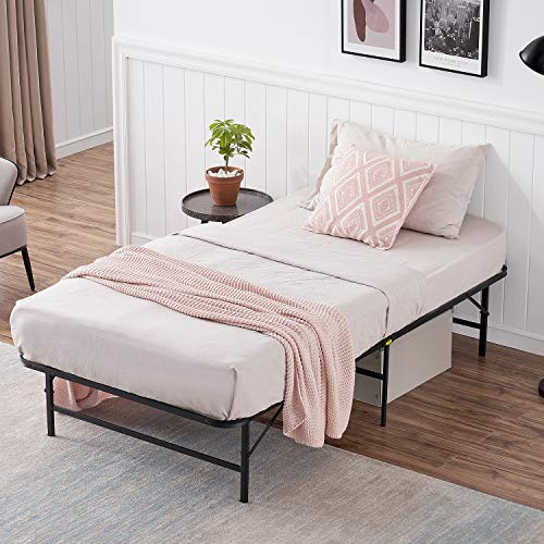 VECELO Metal Foldable Platform Bed Frame, No Box Spring Needed/Quiet Noise Free/Easy Assembly (Twin)