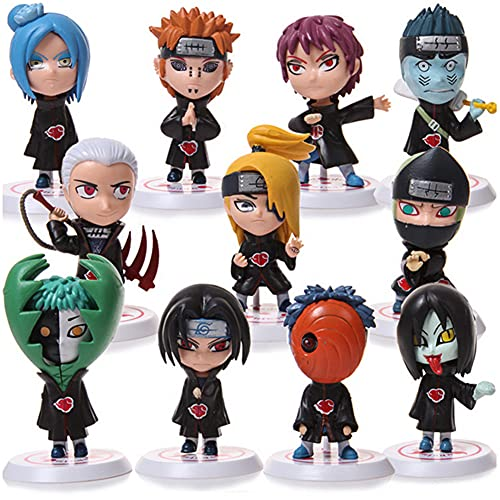 Naruto Action Figures Set,12 Pcs Anime Naruto Q Version Handmade Figures Model,Naruto Cake Toppers,Birthday Party Supplies Cupcake Figures Decoration,Collectible Model Decoration for Kids Boys Girls