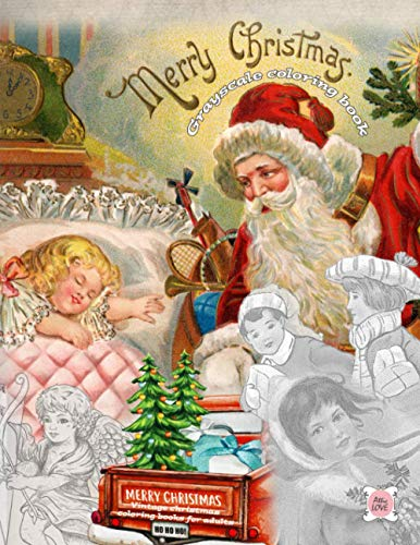 MERRY CHRISTMAS grayscale coloring book vintage Christmas coloring books...