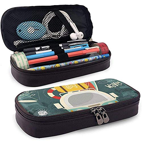 Surfing Bus Summer Estuche de lápices de Cuero con Cremallera, Microfibra PU Porta lápices de Cuero College Office Estuche para lápices Bolsa Unisex