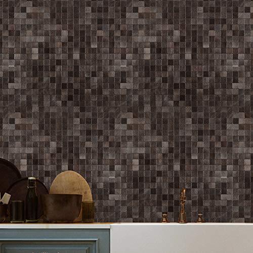 Azulejos de mosaico de metal, autoadhesivos, para decoración de pared de cocina, marrón, 5 hojas de 12 x 12 pulgadas (5 pies cuadrados)
