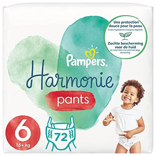 Pampers - Pañales de armonía, talla 4 (9-15 kg), 0 % de compromiso, 100 % de absorción, ingredientes de origen vegetal, fáciles de cambiar, 72 pañales (lote de 4 x 18)