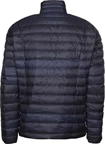 Patagonia Mens Down Sweater, Distressed Stripe: Navy Blue, XL