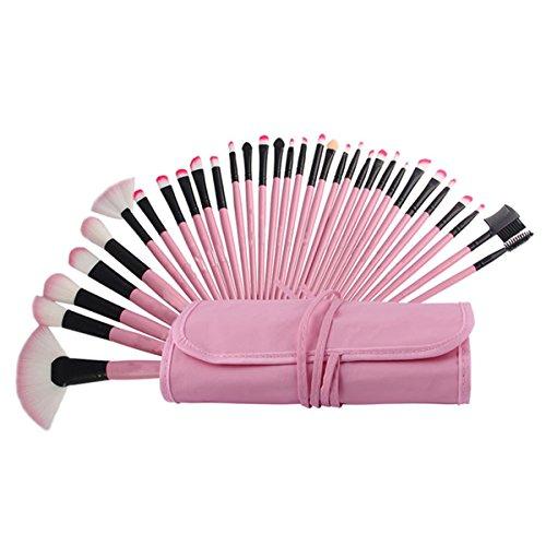 ECYC® Ensemble de brosse à maquillage 32 pièces avec étui de transport en cuir