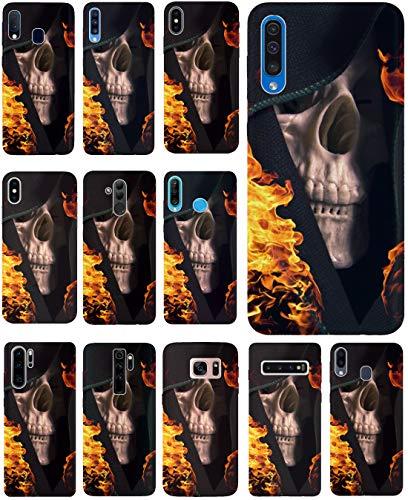 KUMO Hülle für Samsung Galaxy S20 Handyhülle Design 1062 Totenkopf Skull Flammen aus flexiblem Silikon SchutzHülle Softcase HandyCover Hülle für Samsung Galaxy S20