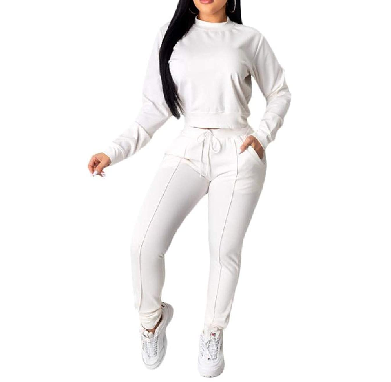 マウントバンク些細なロイヤリティVITryst Womens Two Piece Drawstring Solid Color Pockets Sweatshirt and Long Pants Tracksuit