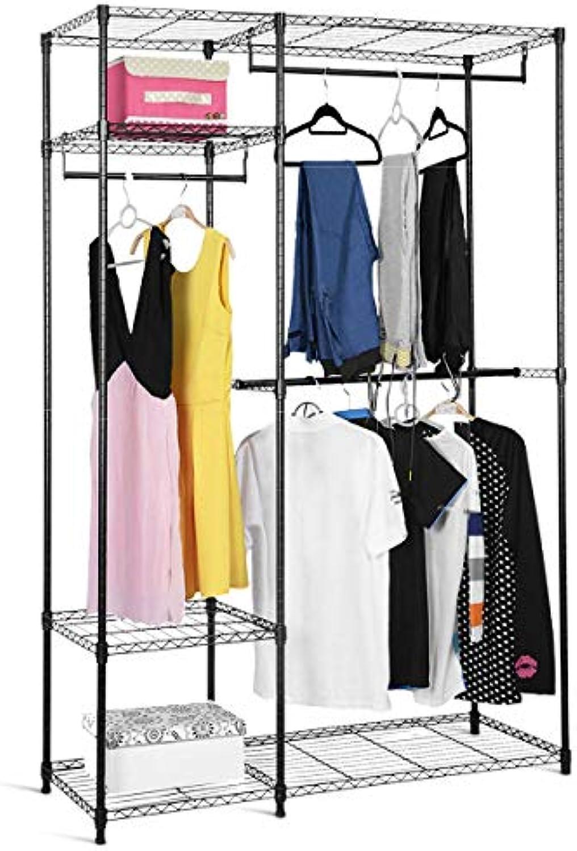 COSTWAY Kleiderschrank aus Metall, Garderobenstnder mit Kleiderstangen, Stoffschrank 180x120x45cm, Garderobenschrank mit verstellbaren Ablagen, Faltschrank schwarz