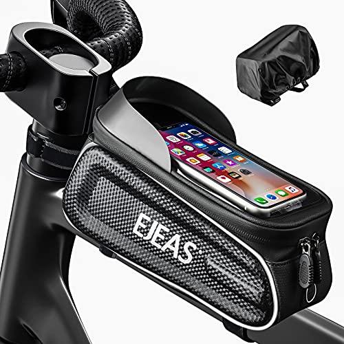 EJEAS Bolsa de Bicicleta, para Teléfono Inteligente de hasta 6.5 Pulgadas, con Pantalla Táctil Sensible a TPU, Porta Movil Bicicleta, Impermeable para Teléfono Móvil, Bicicleta de Montaña, Carretera
