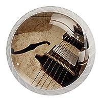キッチンキャビネットノブ4個セット-プルノブ引き出しとドレッサーハンドル- ヴィンテージカスタム手作りジャズギター