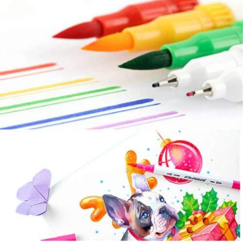 Rotuladores punta pincel acuarela con doble punta, punta fina y punta pincel, rotulador a base de agua, para dibujo, caligrafía, bocetos, libros de colorear (24Color)