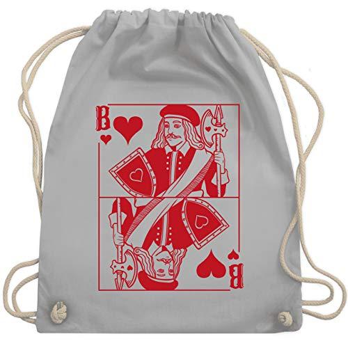 Karneval & Fasching - Spielkarte Bube - Herz - rot - Unisize - Hellgrau - Kartenspiel - WM110 - Turnbeutel und Stoffbeutel aus Baumwolle