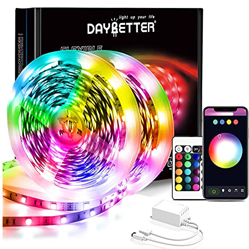 Daybetter 65.6ft WiFi Smart Led Lights Strip with App Control for Bedroom Decoration Work with Alexa and Google Assistant(2 Rolls of 32.8ft)