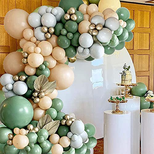 Kit de globos de guirnaldas verde salvia, 137 unidades, color verde oliva, macarón, naranja, dorado, para decoración de baby shower y decoración de fiesta de cumpleaños